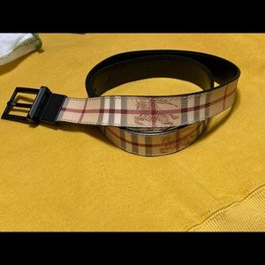 Burberry Monogram Learher-Coated Belt
